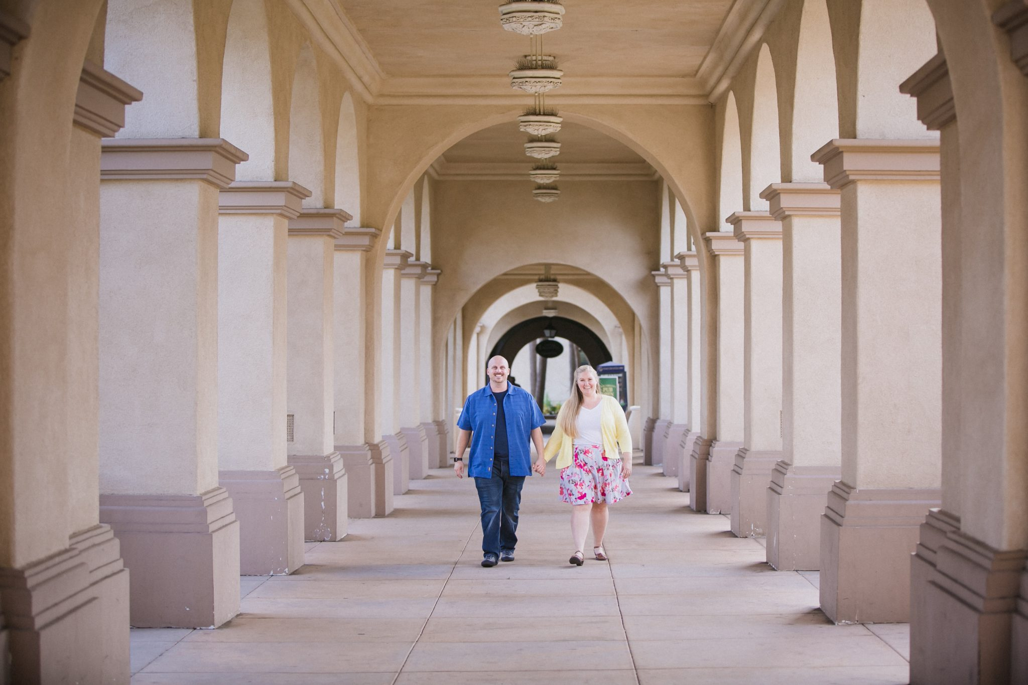 Balboa Park engagement photos with columns