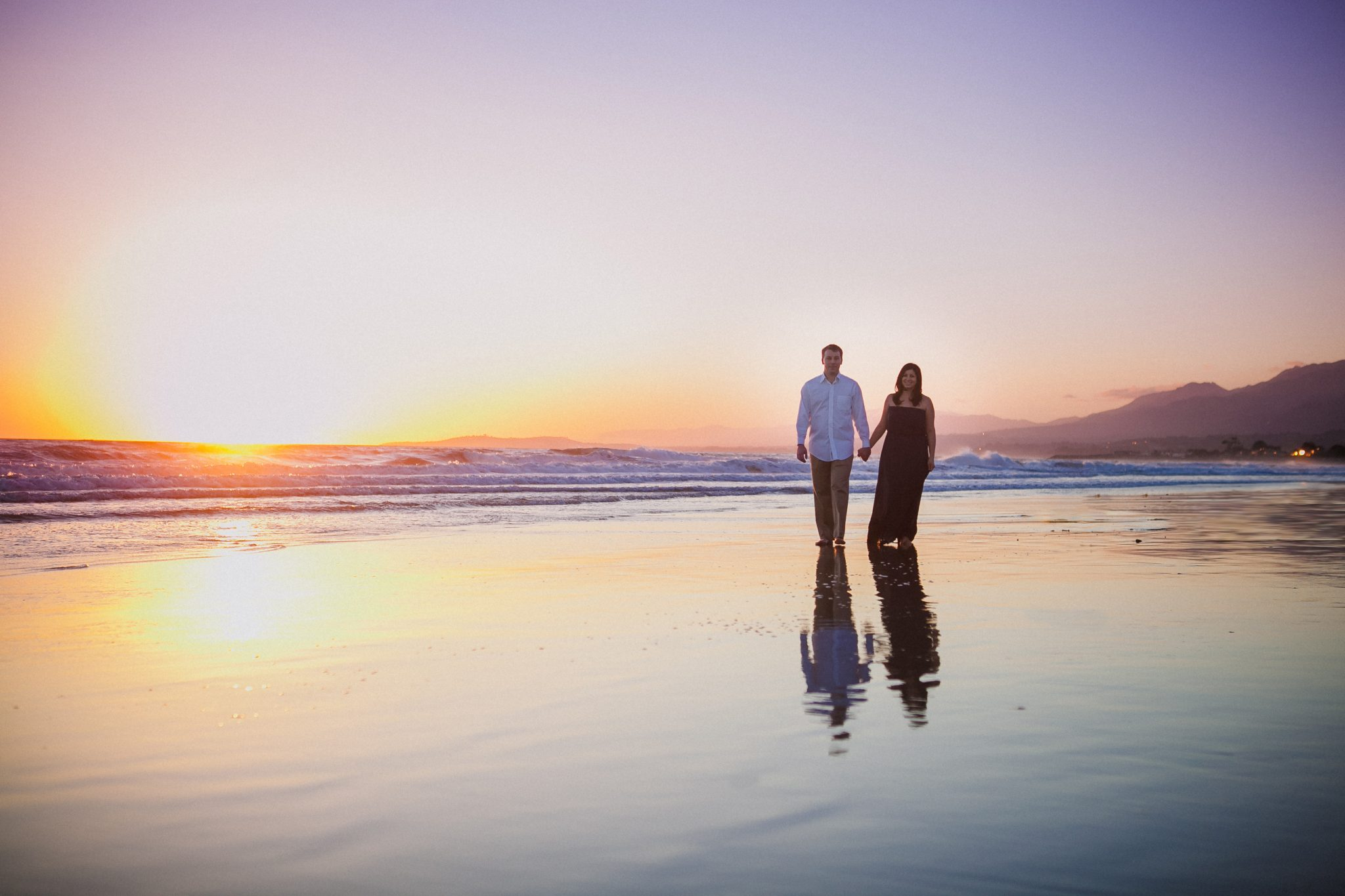Engagement session at the beach during sunset