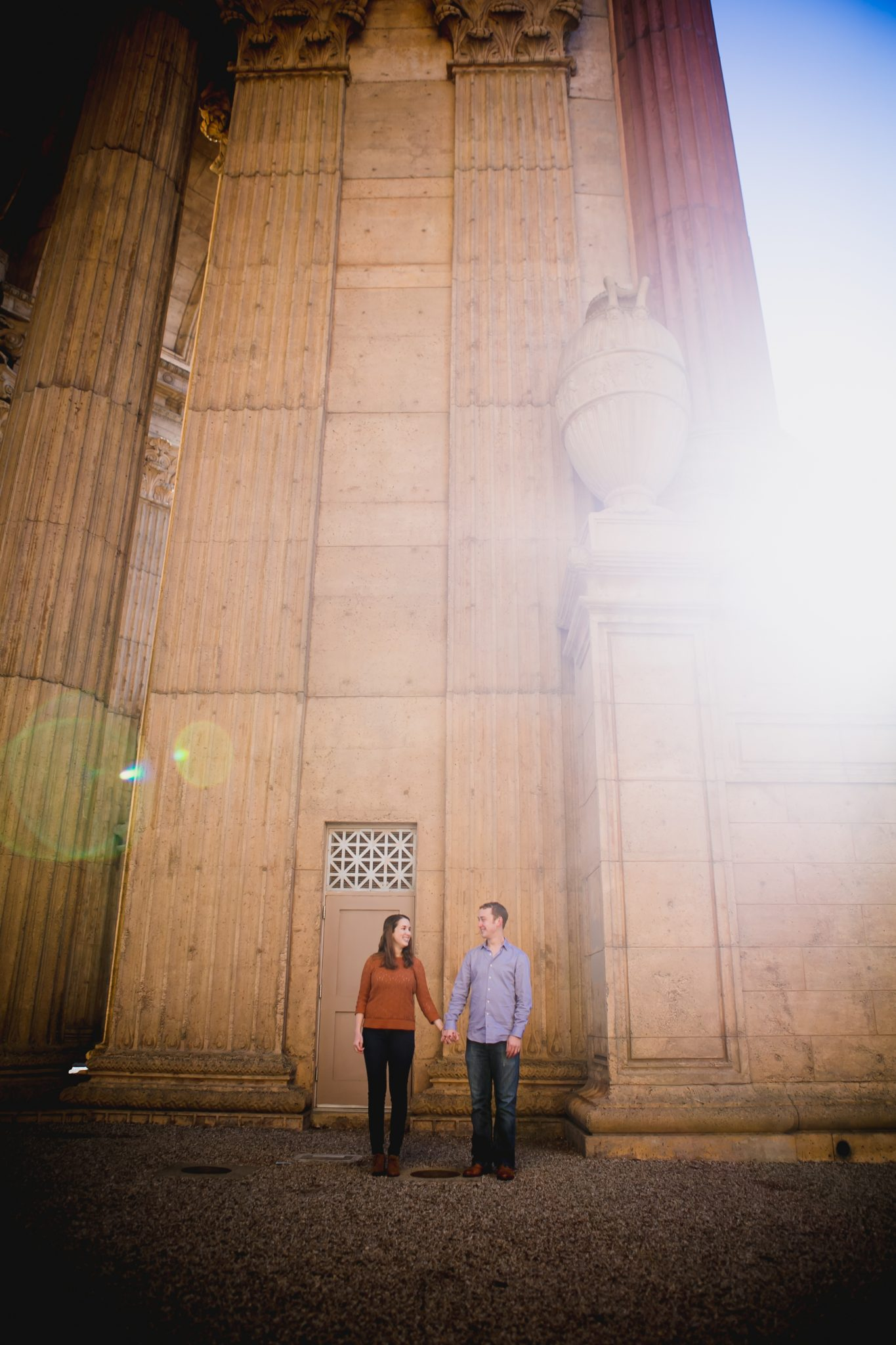 Engagement photo at the Palace of Fine Arts in San Francisco