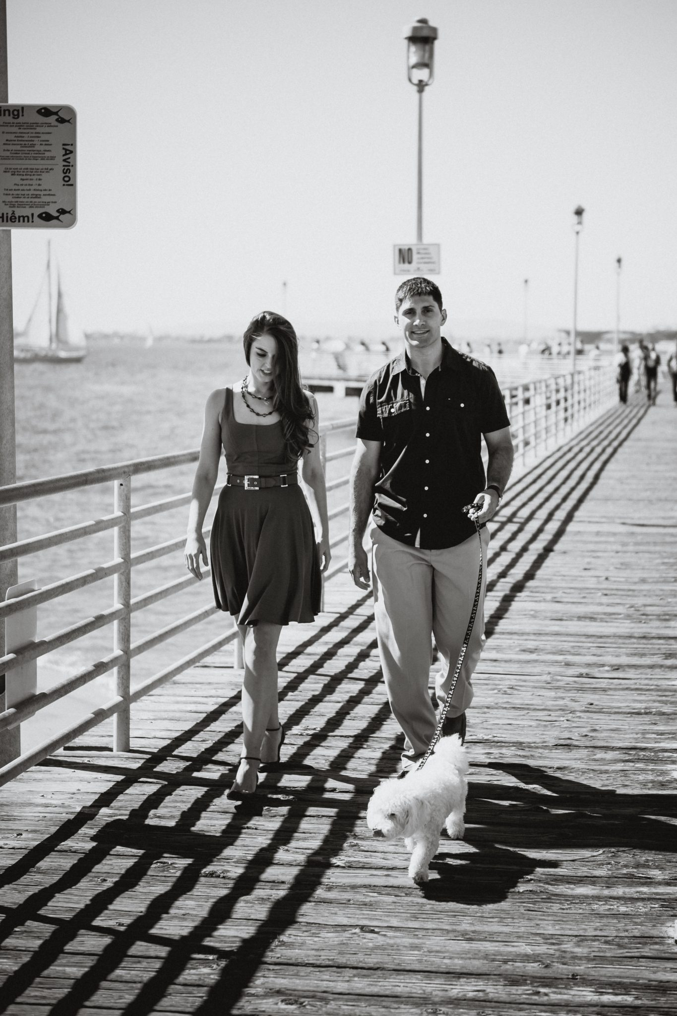 Engagement photo with a dog in Coronado