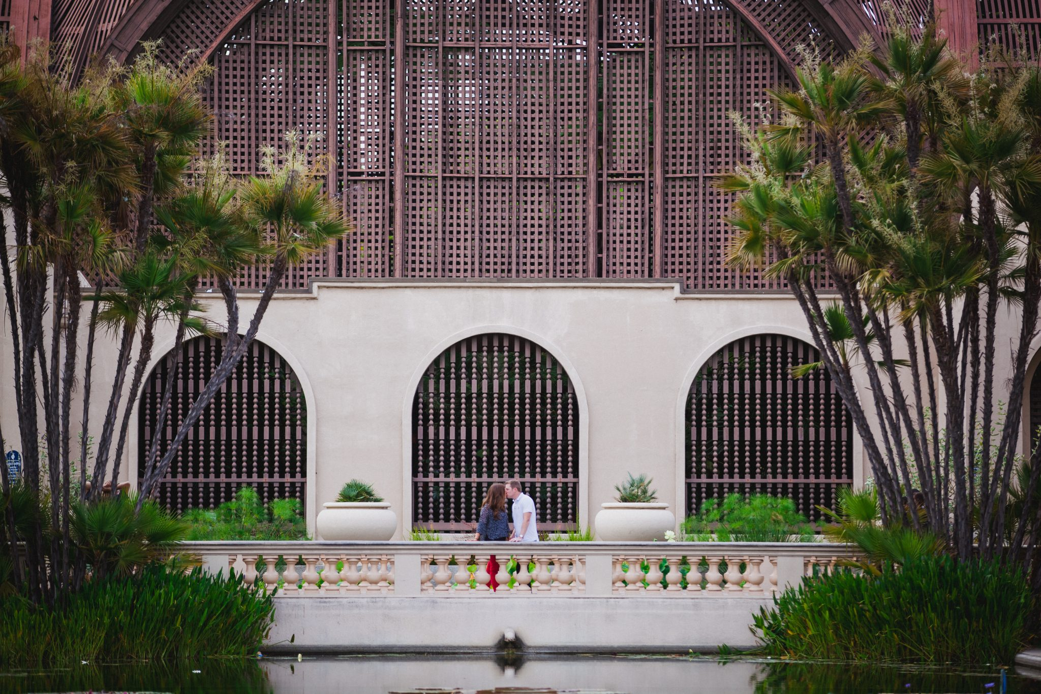 Wide photo of couple at Balboa Park
