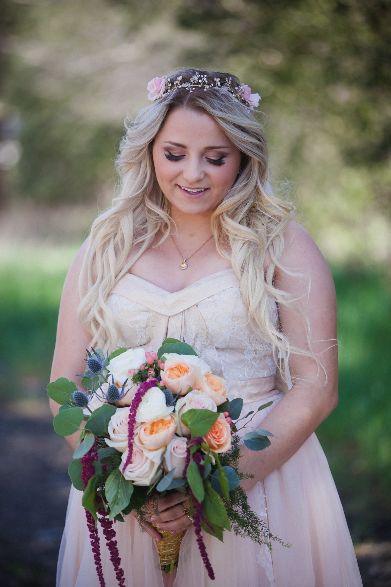 Portrait of the bride wearing a flower crown