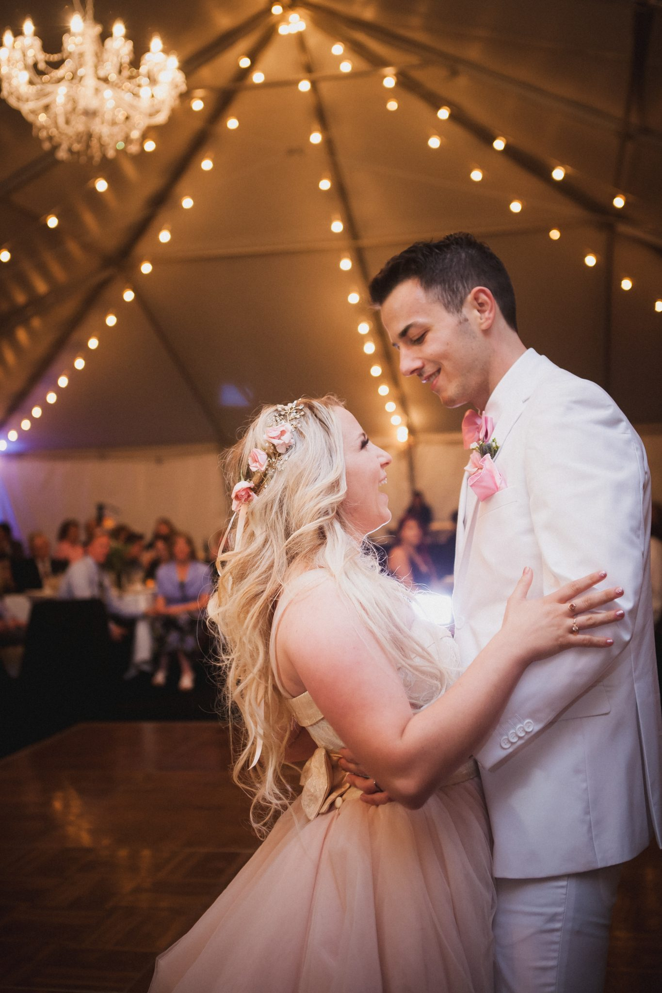 Bride and groom dance their first dance together