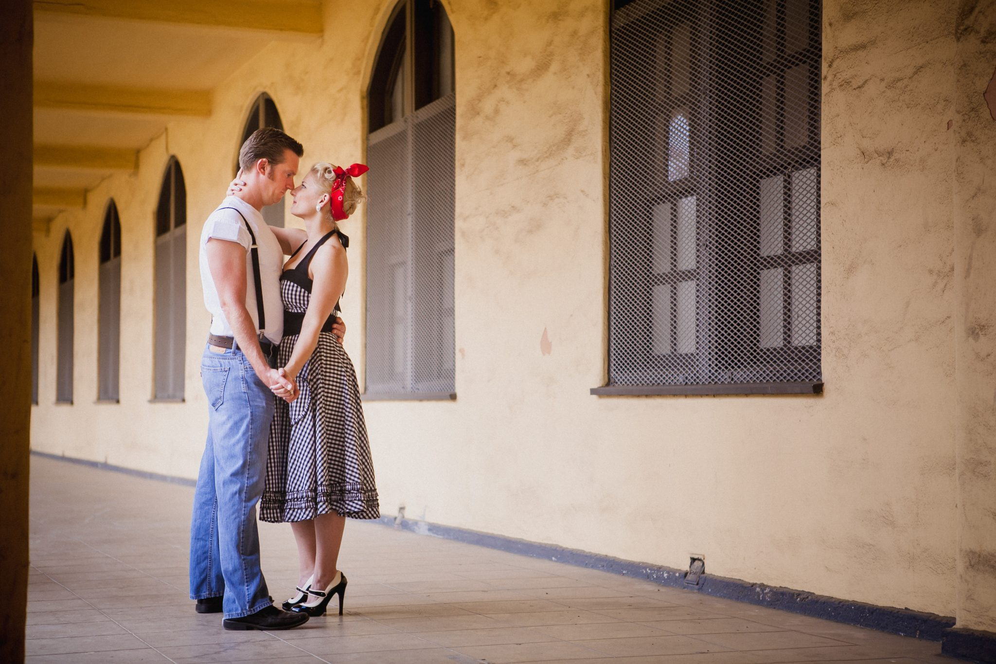 Retro outfits for engagement shoot at Liberty Station