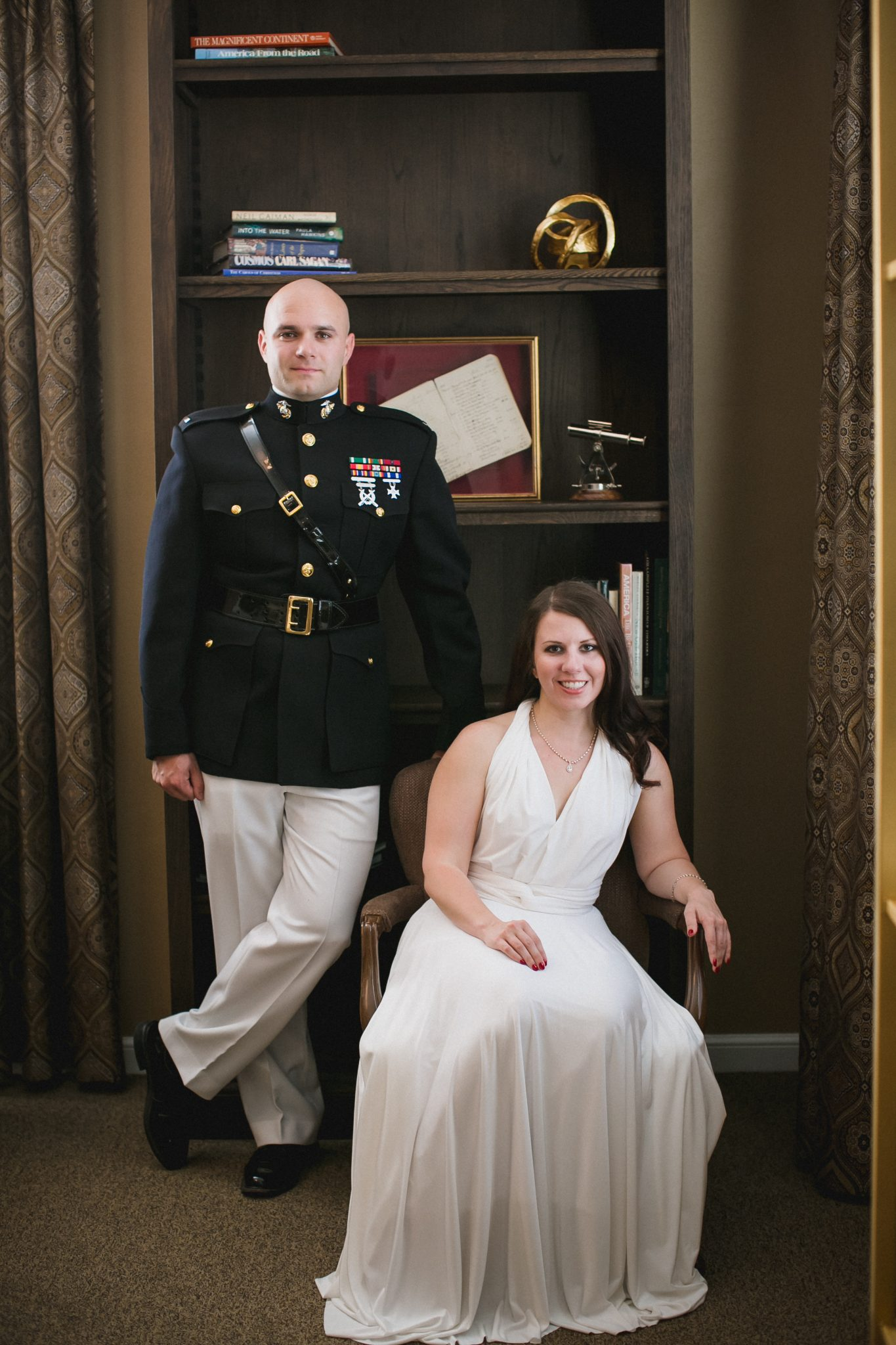 Wedding portrait of the bride and groom using natural light