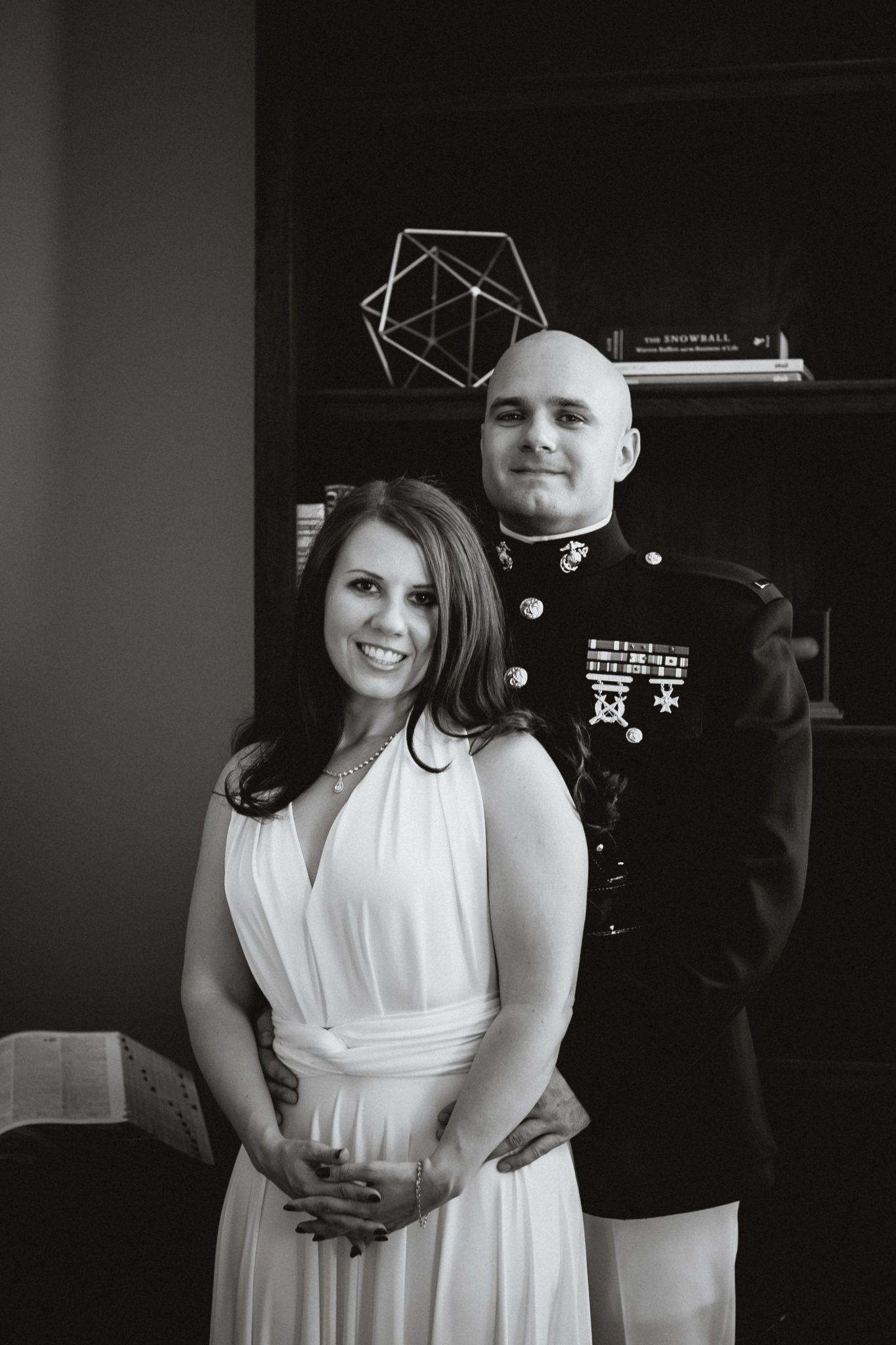 Formal portrait of the wedding couple indoors