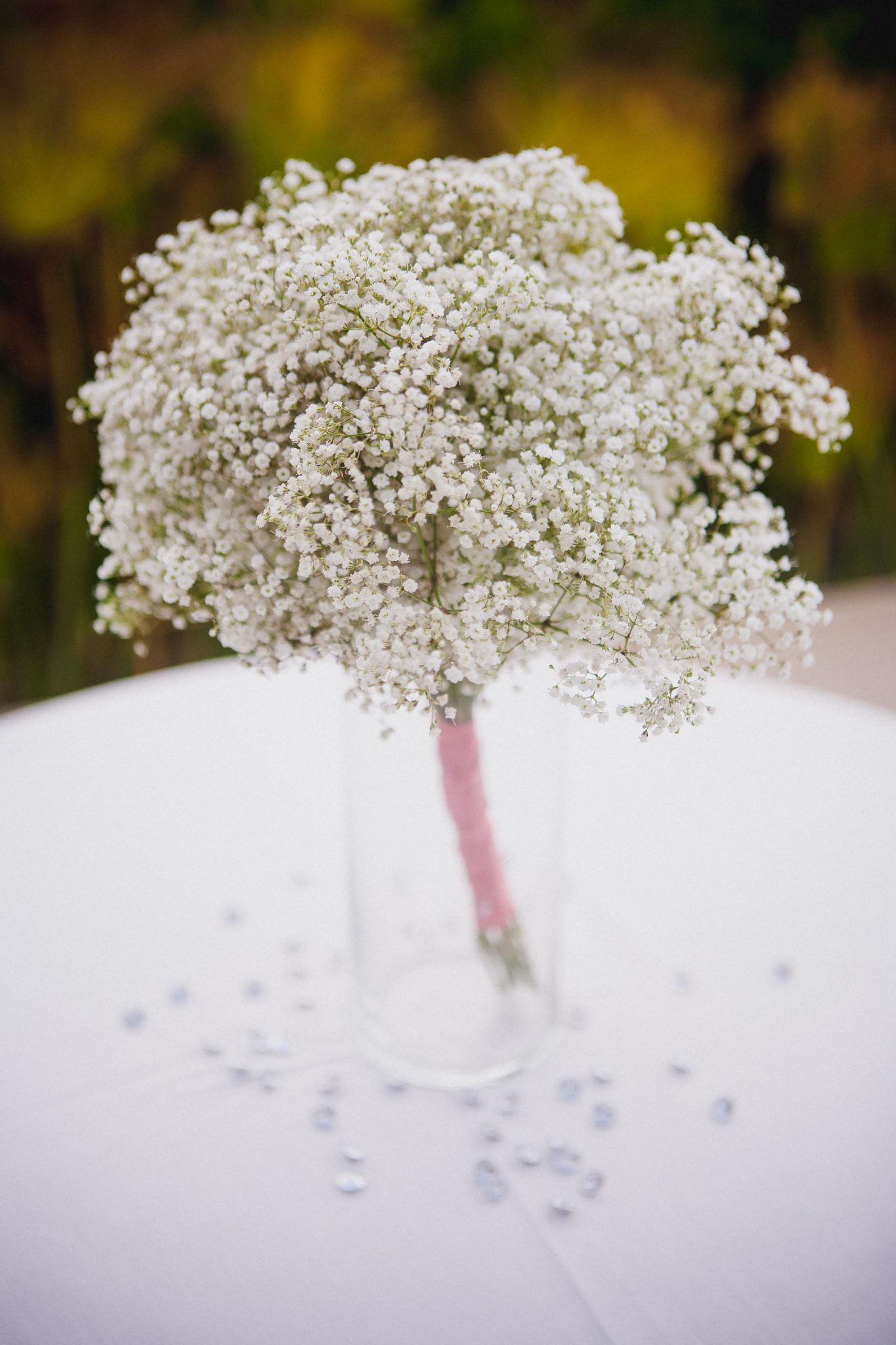 Baby's breath flowers as a wedding centerpiece during cocktail hour