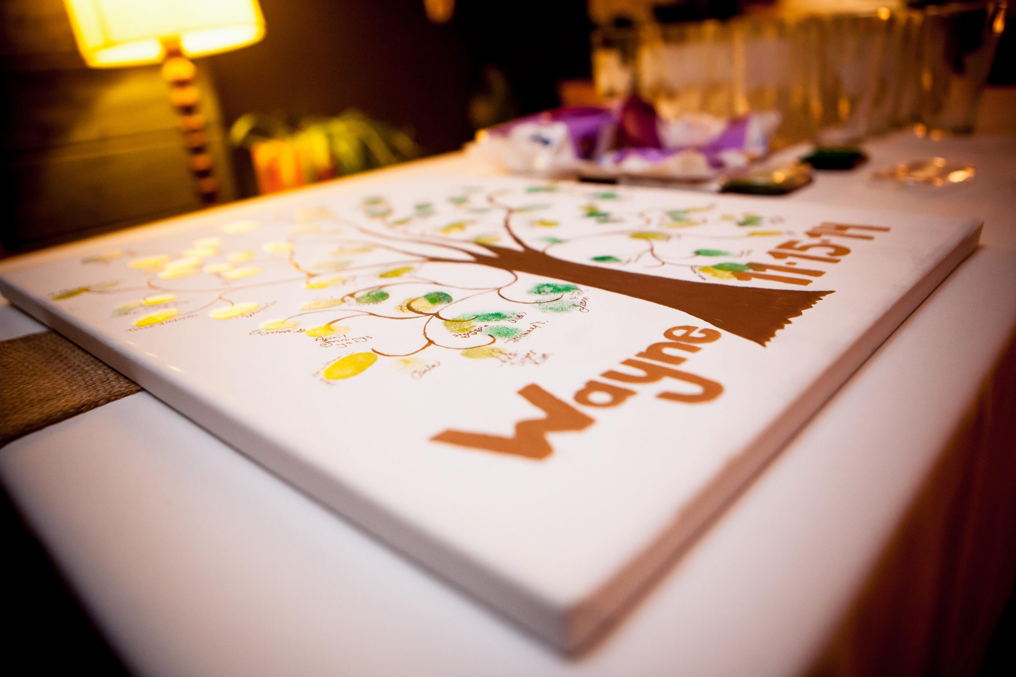 Wedding reception decor that guests sign for the bride and groom