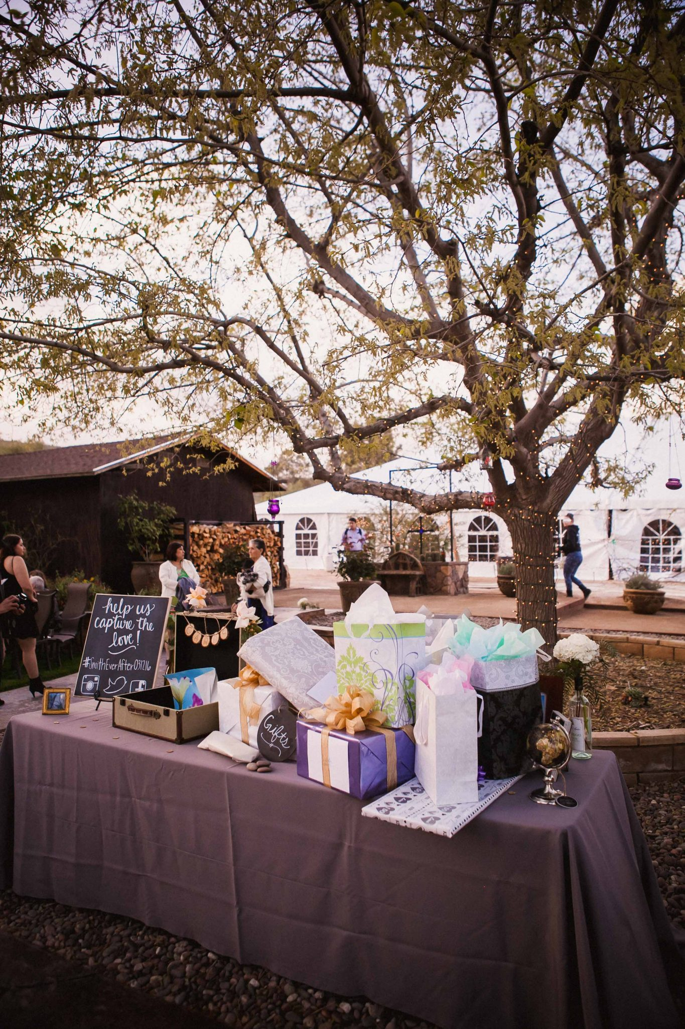 Wedding decor gift table at the reception