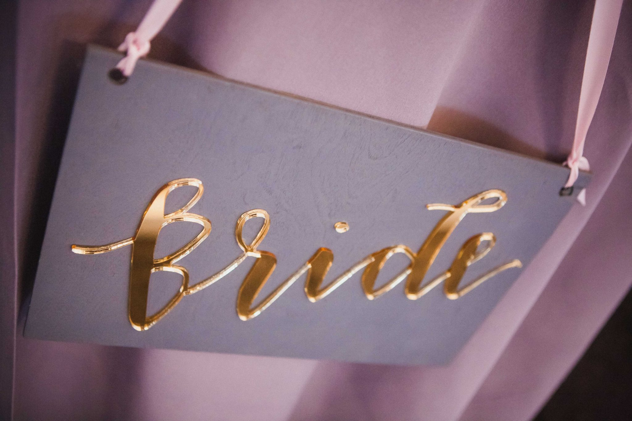 Bride sign for the back of the bride's chair at the wedding reception party