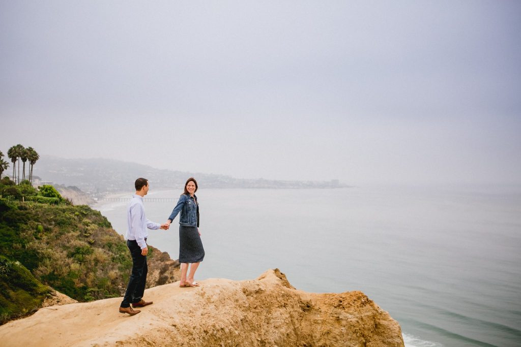 Engagement session on the cliffs at Blacks Beach