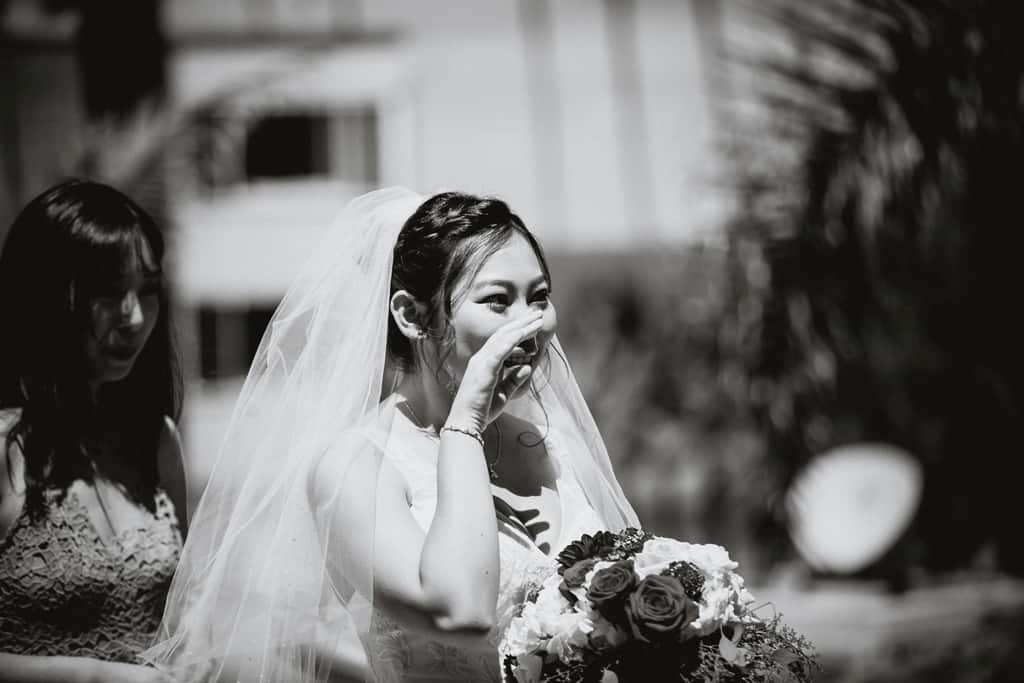 Smiling bride at a San Diego wedding at La Valencia